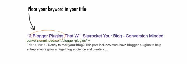 SEO for bloggers tip: add your keyword to the blog title!