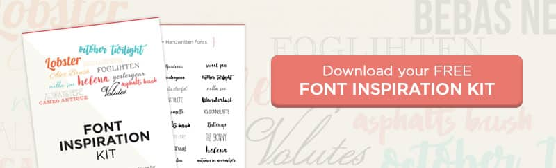 Printable font inspiration kit: over 60 free fonts and font pairings to use on social media, the web, blog post images, and more!