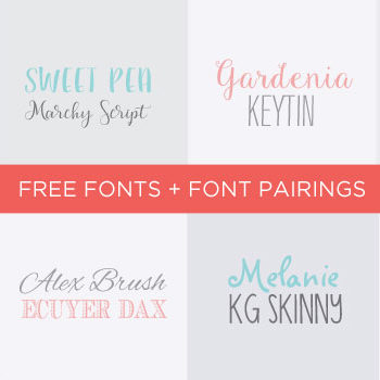 Free Fonts and Font Pairings for Social Media and Blog Images! Plus, a FREE downloadable font inspiration kit to experiment with! Click through to see all the fonts!