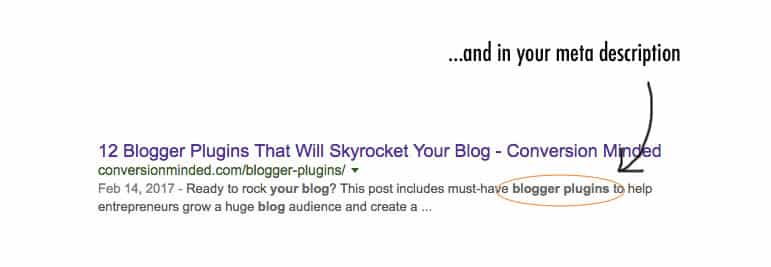 SEO for bloggers tip: add your keyword to the meta description.