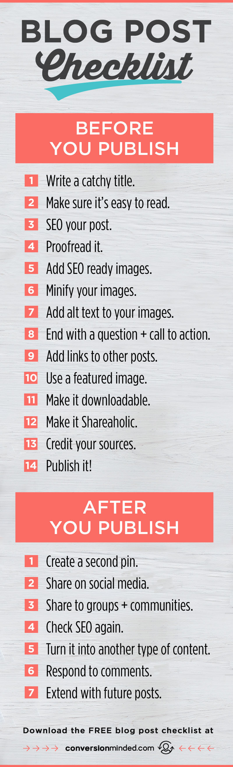 A blog checklist of things every biz owners and blogger should do before and after you publish your posts! The steps listed here will help you optimize your content so you get more subscribers and more people everywhere find your amazing content. Includes a FREE printable checklist to keep handy. Click through to see all the steps!