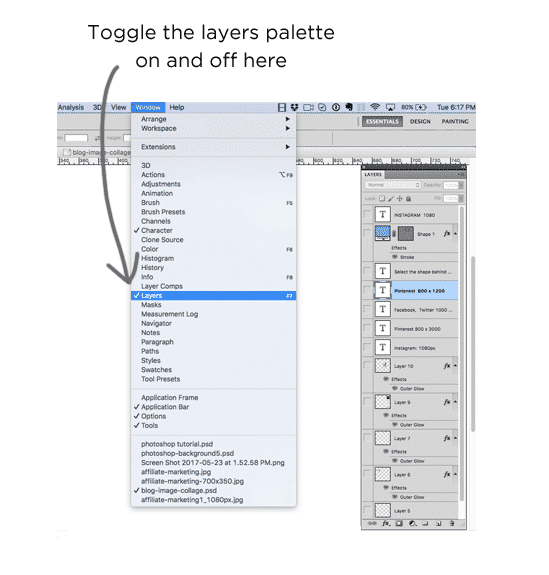 Graphics tutorial: Accessing the Photoshop layers palette