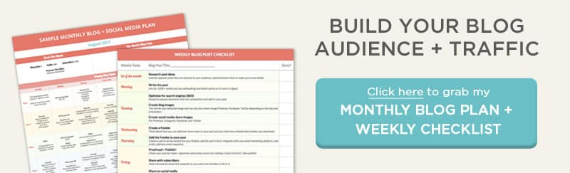 Download my Blog + Social Media Plan to help you build your blog traffic and audience quickly and with ease!