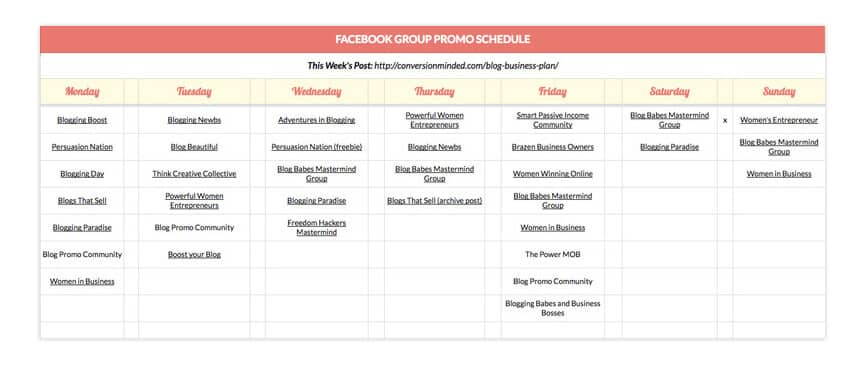 This Facebook groups promo schedule helps you stay on track with your social media strategy plan