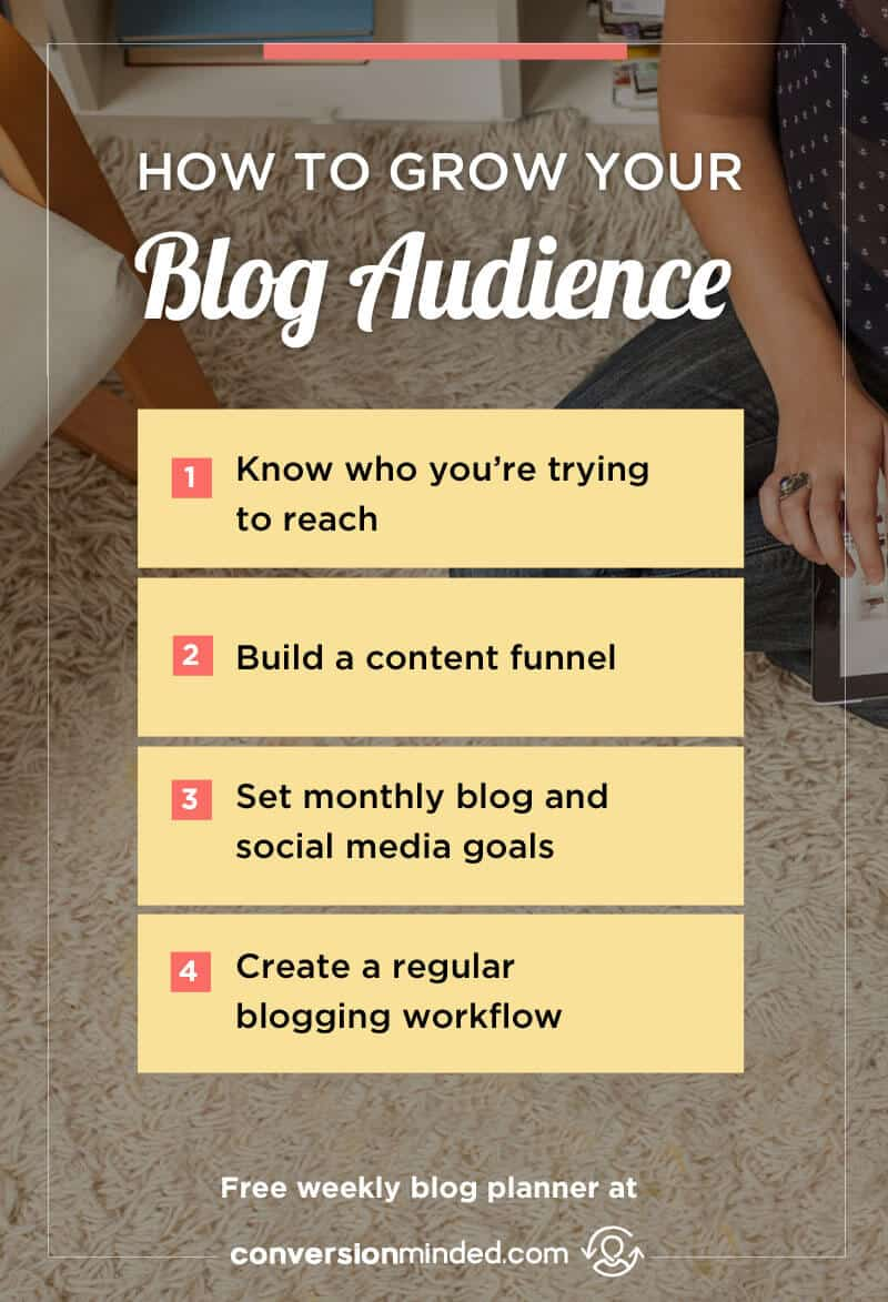 How to Build Your Blog Audience Like You Mean Business | Here are 4 things every blogger and entrepreneur should do to get more traffic, build your list, and create a platform for making money with your blog. PLUS, it includes a free weekly blog planner so you know what to do each day to get maximum benefit. Click through to view it!
