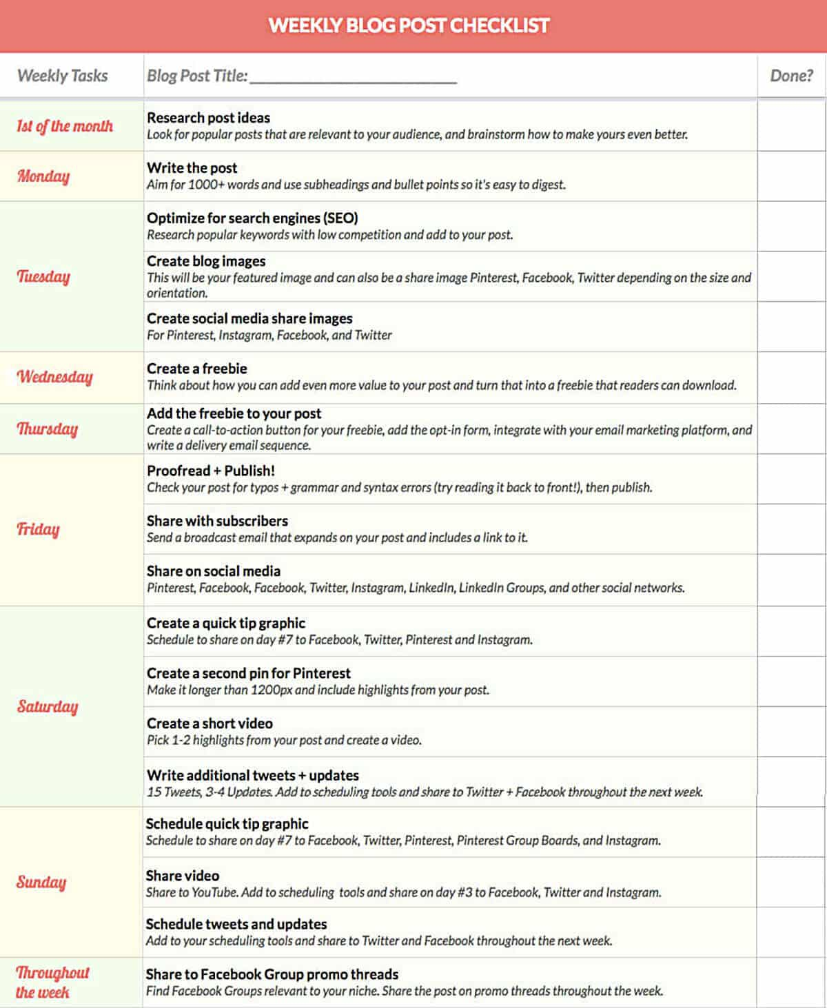 Weekly Blog Post Checklist for Social Media Marketing