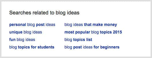 Get fun blog ideas from the related terms at the bottom of Google search results