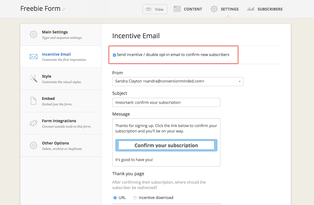 Here's the second part of ConvertKit's form settings: select single or double opt-in.