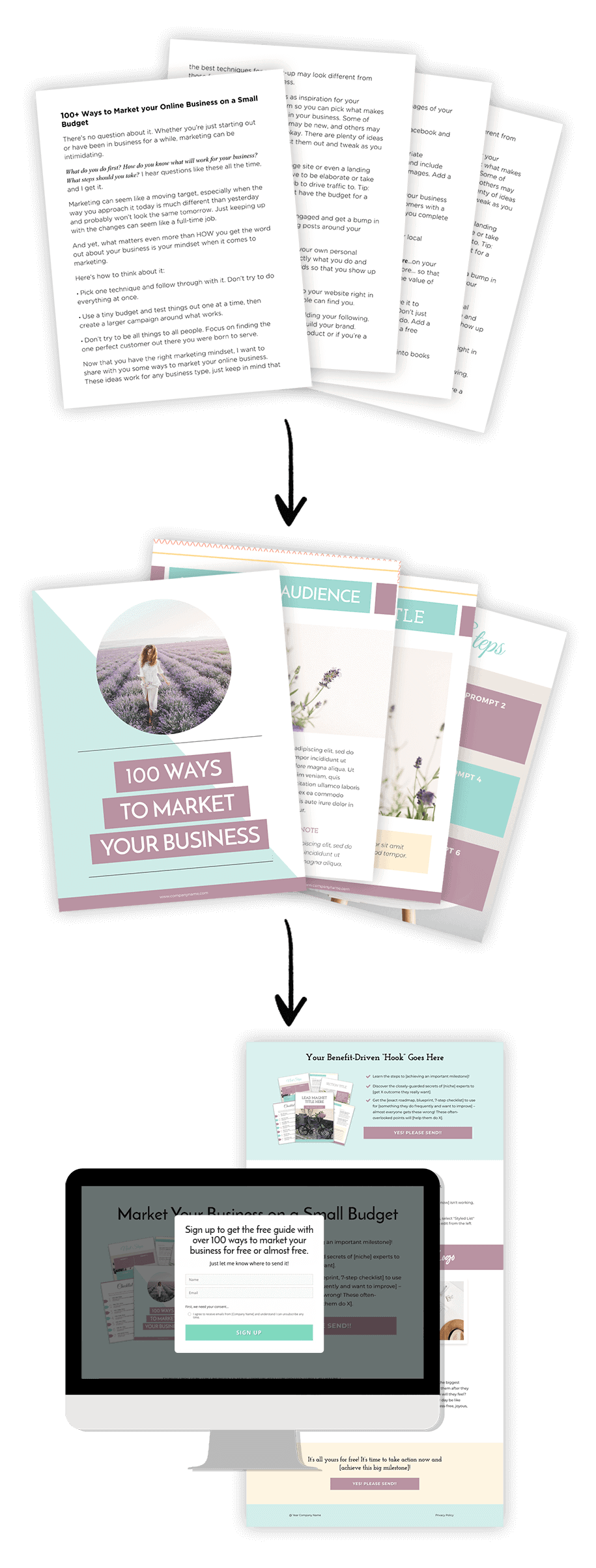 from ebook idea to landing page + pop-up form
