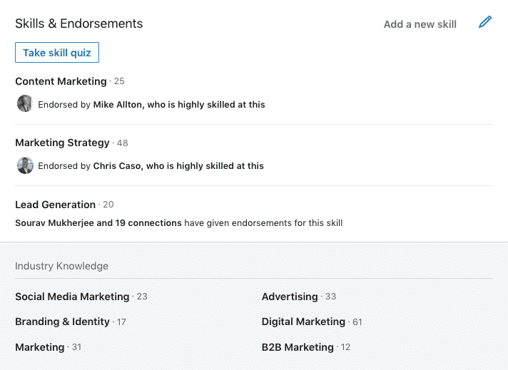 LinkedIn Skills section