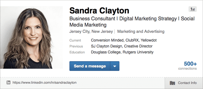 Sample LinkedIn Profile Header