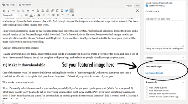 Quick tip for how to optimize blog posts: Include a featured image