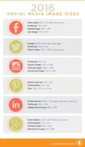 Social media image size guide for Facebook, Twitter, Instagram, Pinterest, LinkedIn and Google+