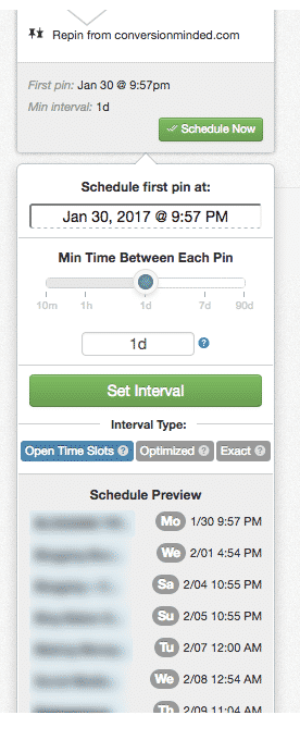 set interval - drive traffic with pinterest