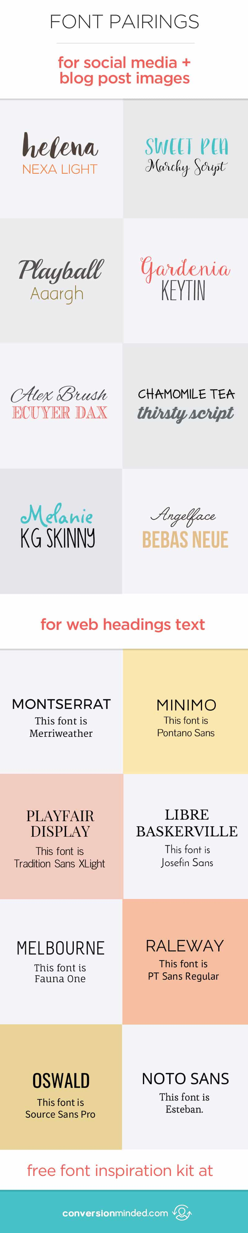 Font Pairings for the Web, Social Media and Blog Images! Plus, a FREE downloadable font inspiration kit to experiment with! Click through to see all the free fonts!