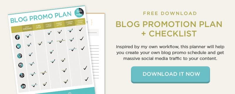 Download the Blog promotion worksheet to get traffic to your blog.