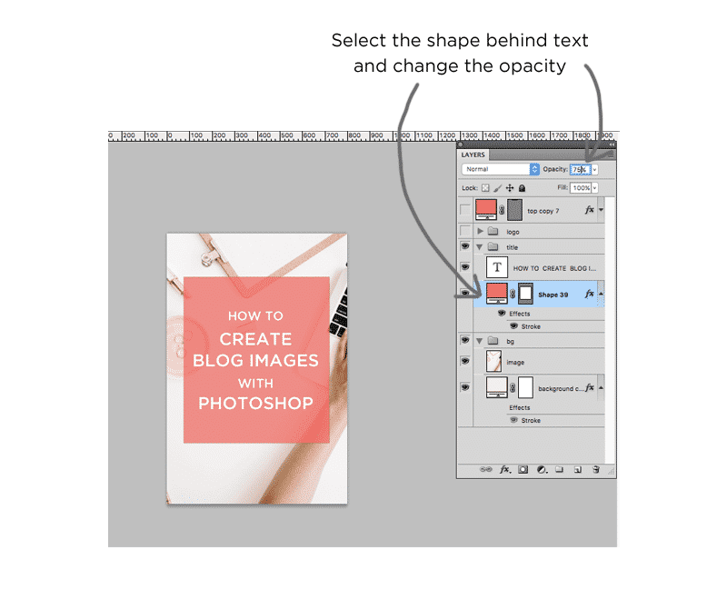 Graphics Tutorial: adding an image and changing opacity of a box in Photoshop.