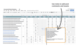 Use a spreadsheet to keep track of where and when you share your posts!