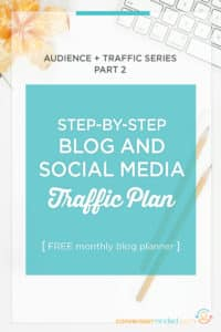 Want to sell your products and make money with your blog? First, you need to build your audience! This post includes the exact weekly blog tasks plus a downloadable social media plan to help you drive incredible amounts of traffic. Click through to see the weekly tasks!