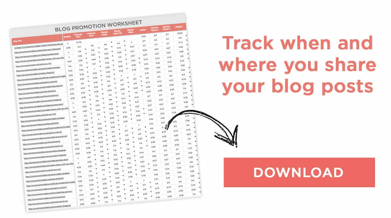 Use this blog promotion worksheet to track where and when you keep track of your social media calendar plan.