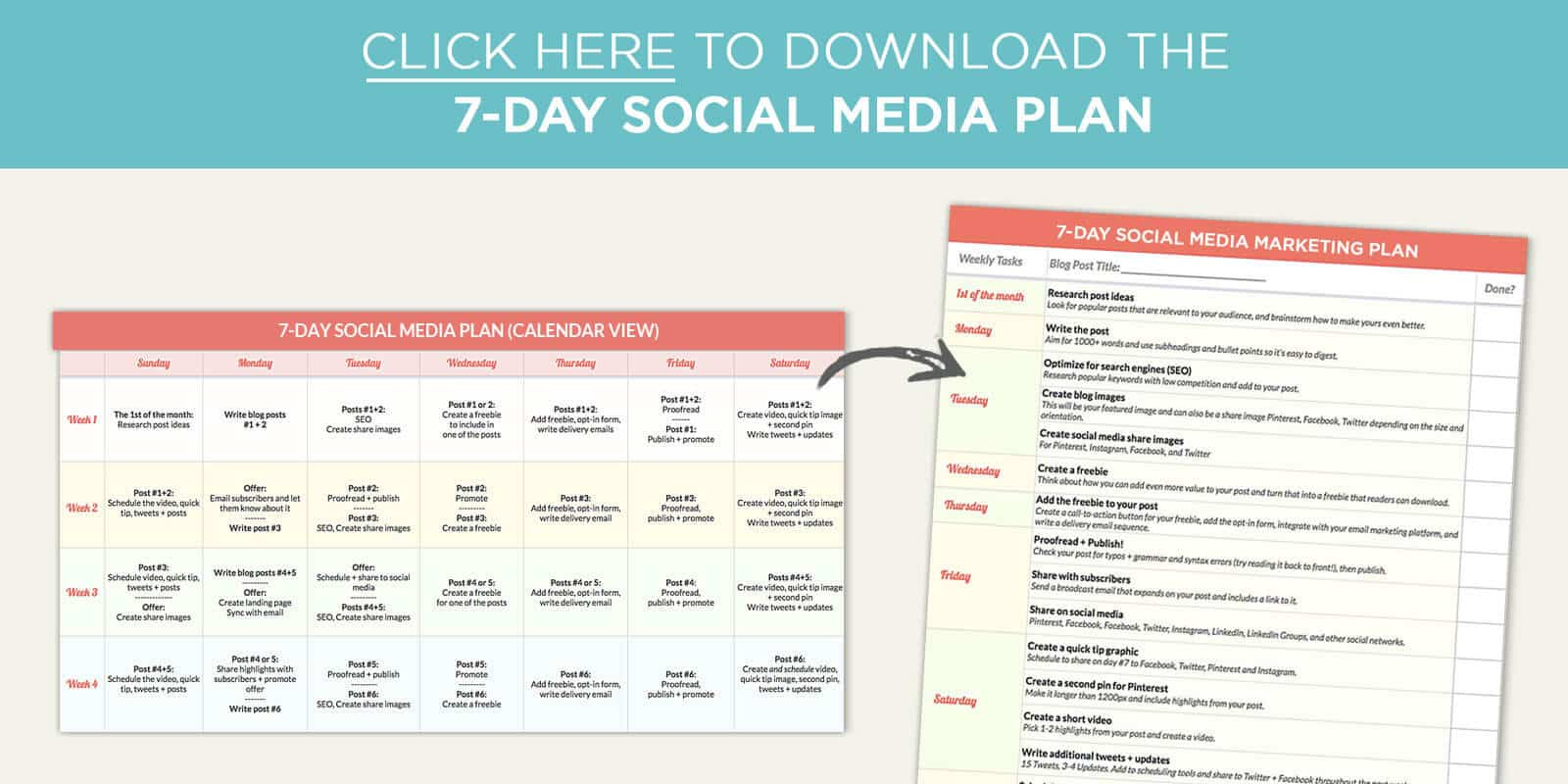 The BEST Weekly Social Media Planner For Your Blog Plus A Free Planner - Blog post schedule template