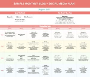 Sample Monthly Blog + Social Media Plan