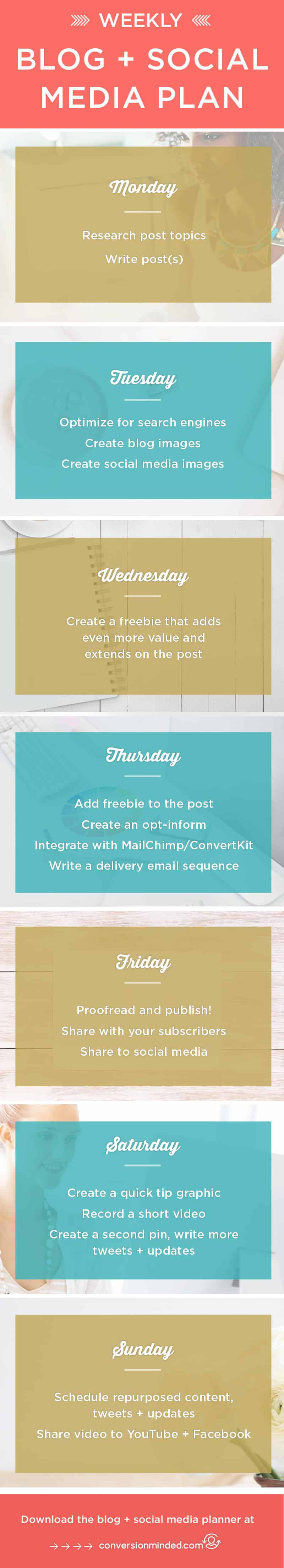 7-Day Social Media Plan | Want to sell your products and make money with your blog? First, you need to get visible! This post includes a weekly social media marketing plan to drive massive traffic. Click through to see all the steps and download the social media planner!