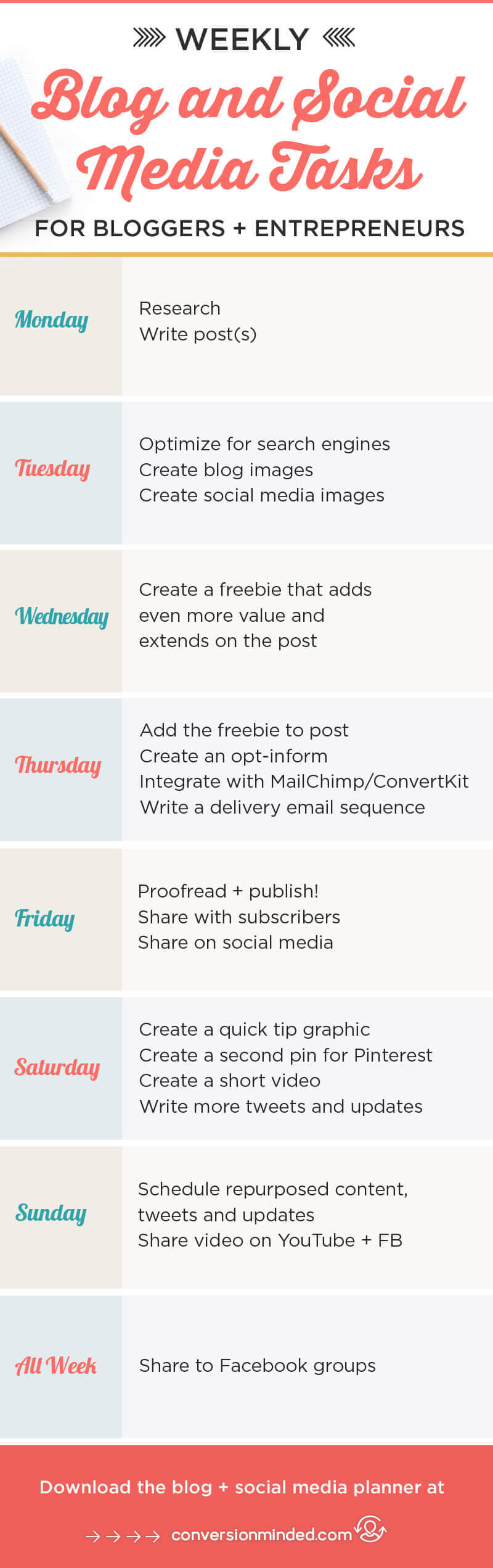 The BEST Weekly Social Media Planner For Your Blog Plus A Free Planner - Facebook posting schedule template