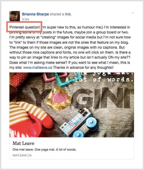ideas for blog content using facebook