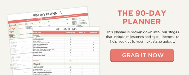 Use the 90-Day Planner to create goal themes and weekly activities to achieve them.