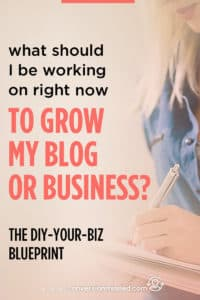 If you're a bit stumped with what to do right now to grow your blog business, this post is for you! I break down the exact things to focus on so you know what to prioritize and when. Click through to see the blueprint!