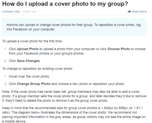 how do i upload a cover photo to my facebook group