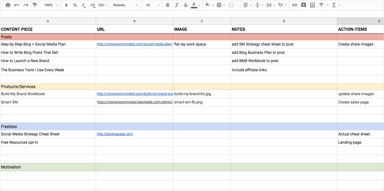 Use a spreadsheet like this to create a content plan for your social media calendar.