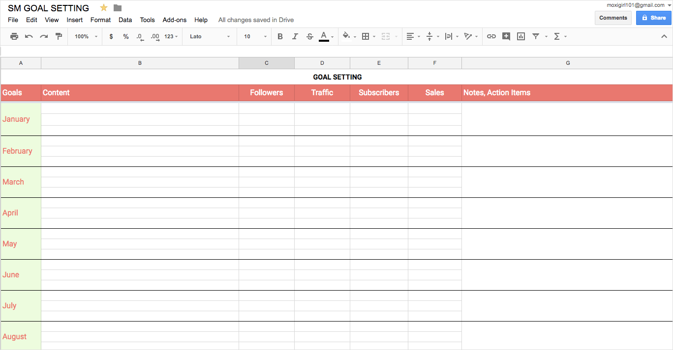 Start with a goal setting spreadsheet for your social media calendar template