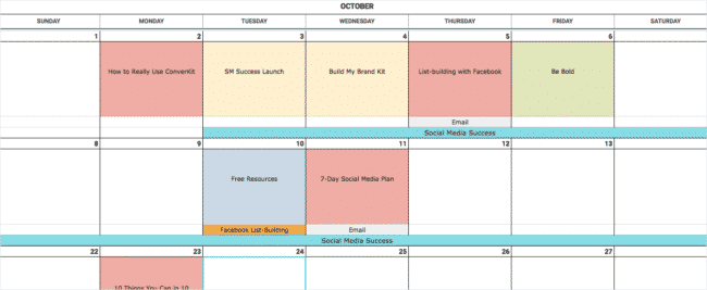Simplified version of the content calendar template