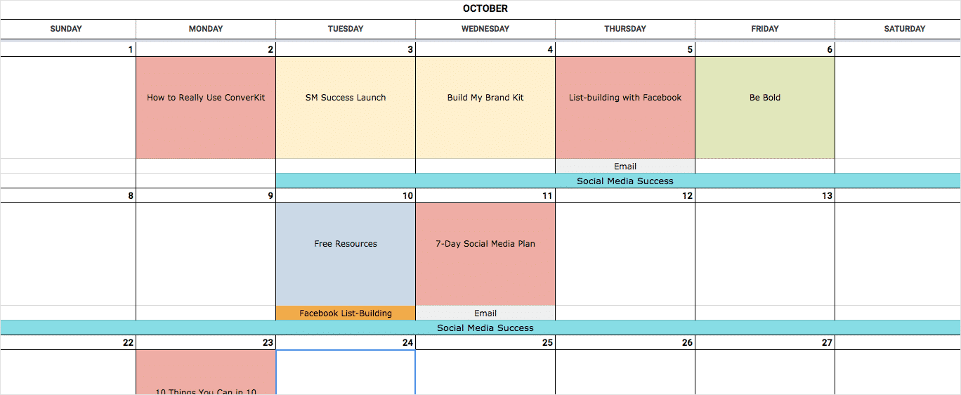 An Epic Social Media Content Calendar For 2019 Template