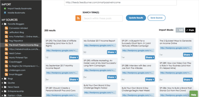 Use SmarterQueue to fill your content calendar.other people's content.