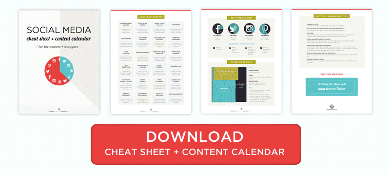 A social media cheat sheet for bloggers and entrepreneurs so you know what to post and when, plus tools to help you automate everything from scheduling, to growth and engagement, and creating images.