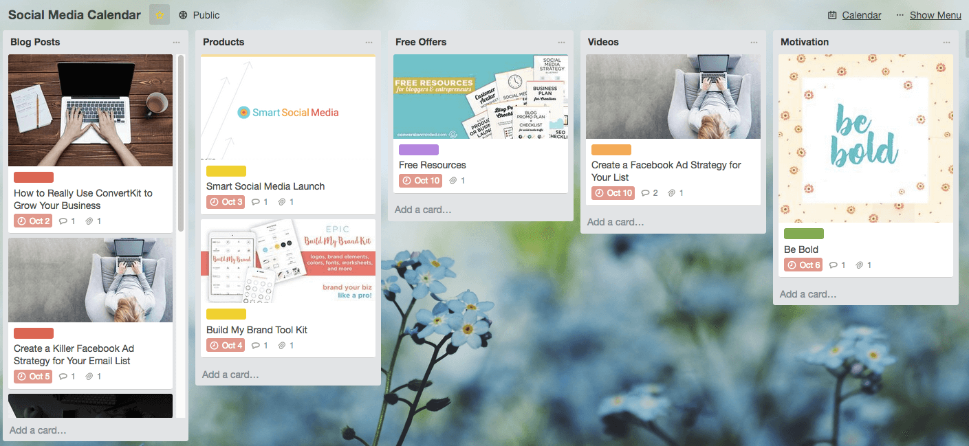 Use Trello to organize your social media calendar template.