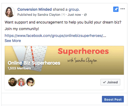 Pin a group post to your Facebook Page.