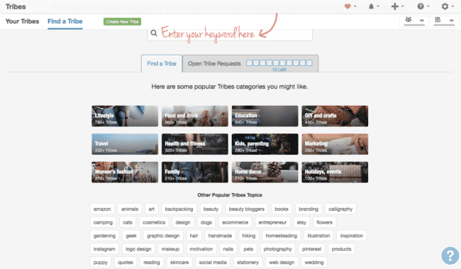 Enter a keyword to find tribes