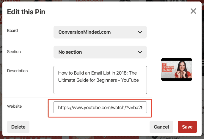 Change the URL of your video pin to redirect to your website.