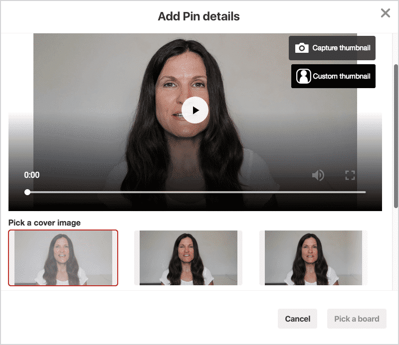 Edit your video pin thumbnail for Pinterest.