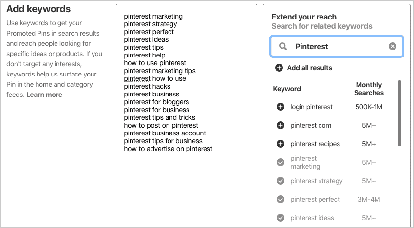 Pinterest keyword targeting for ads