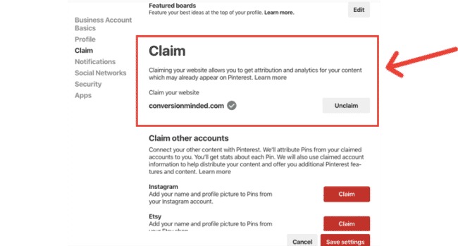 Verify your website in Pinterest