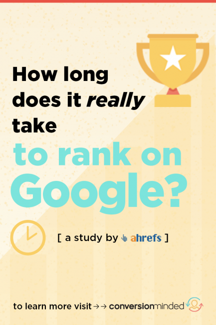 Improve Your SEO!! Learn how to rank in the top on Google (and how long it takes!) This complete infographic study by Ahrefs includes SEO marketing tips for bloggers to hep you increase blog traffic and improve your overall SEO strategy. #SearchEngineOptimization #SEO #bloggingtips